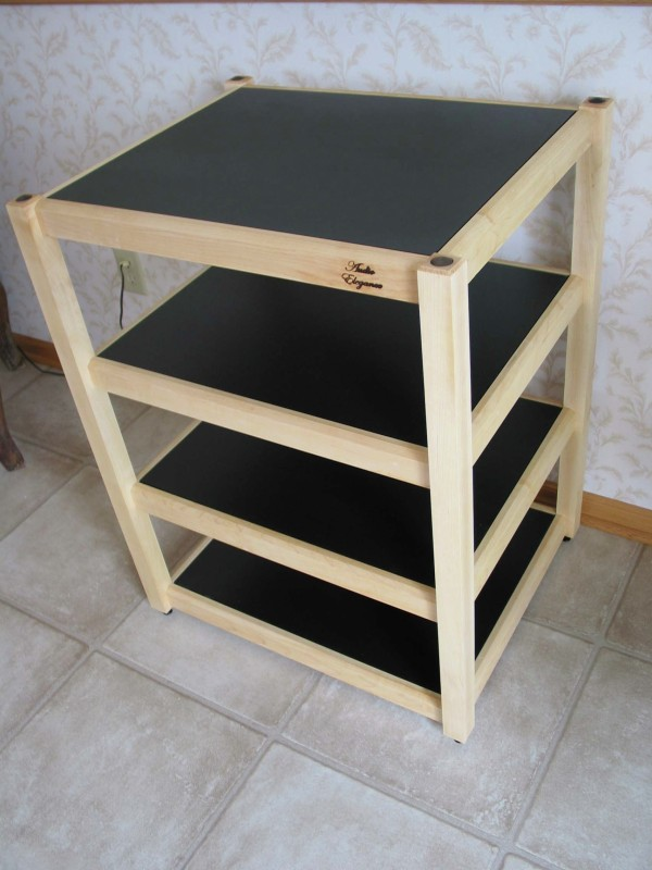 Audio Elegance Frontier Series Maple Four Tier Equipment Rack Shown In A Natural Finish With Black Coated Mdf Shelves